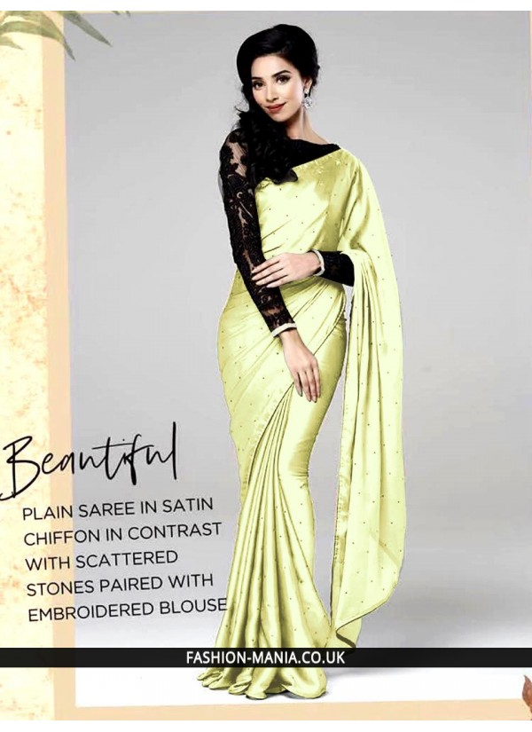Plain saree in stain chiffon in contrast with scattered stones paired with embroidered  blouse