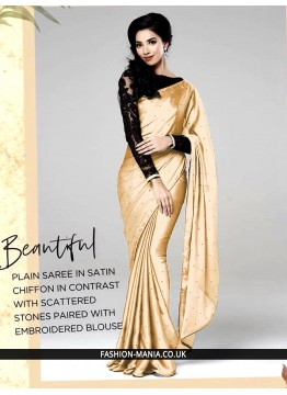G Plain saree in stain chiffon in contrast with scattered stones paired with embroidered  blouse
