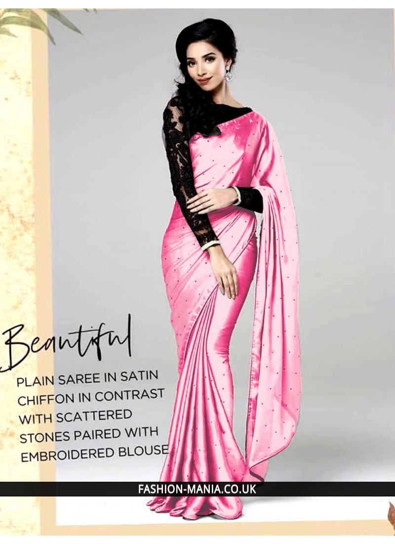 de0a399855942 30Trendy boat neck blouse design Source · Plain saree in stain chiffon in  contrast with scattered stones