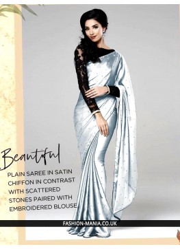 Gray Plain saree in stain chiffon in contrast with scattered stones paired with embroidered  blouse