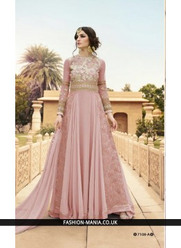 Beautiful Pink  Anarkali Suit  Fabric is Pink Pure Georgette  with Shantun Bottom with Chiffon Dupatta.