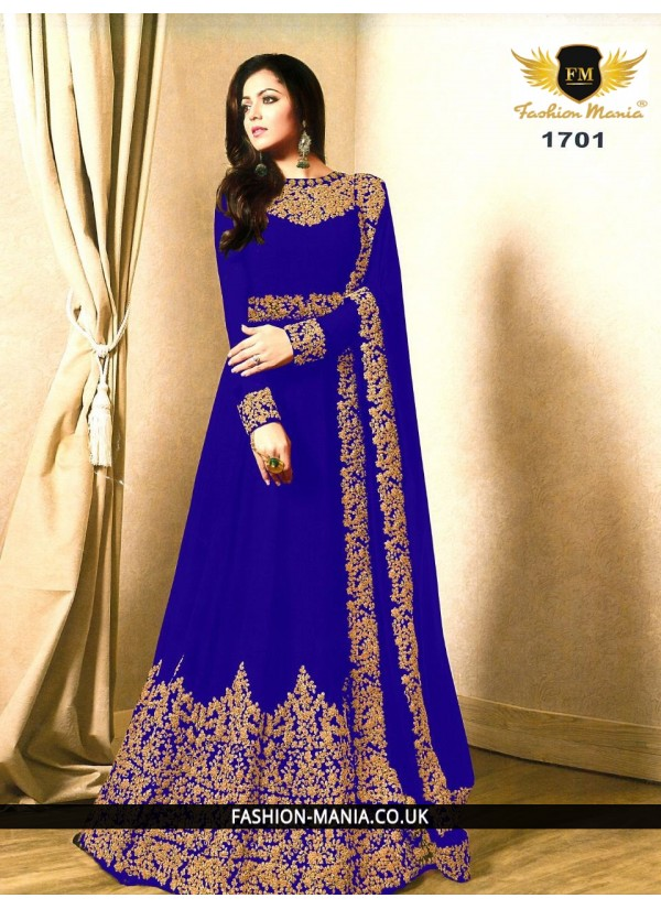 Blue Embroidered Faux Georgette Floor Length Anarkali Suit with Georgette  Dupatta.