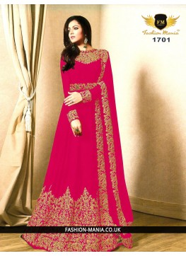 Rani Embroidered Faux Georgette Floor Length Anarkali Suit with Georgette  Dupatta.