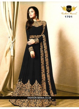 black  Embroidered Faux Georgette Floor Length Anarkali Suit with Georgette  Dupatta.