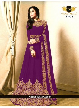 Purple Embroidered Faux Georgette Floor Length Anarkali Suit with Georgette  Dupatta.