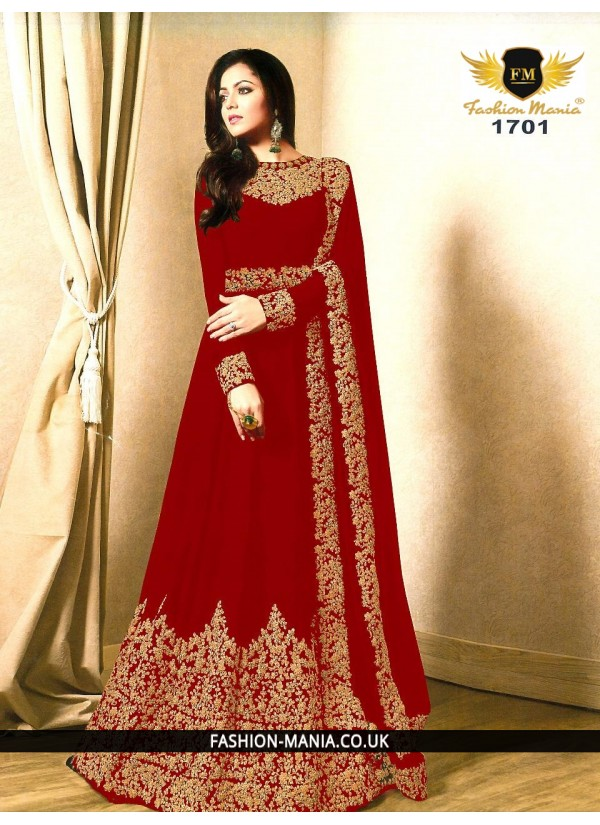 red Embroidered Faux Georgette Floor Length Anarkali Suit with Georgette  Dupatta.