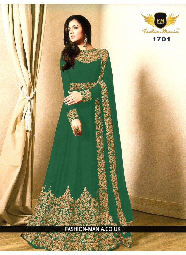 Green Embroidered Faux Georgette Floor Length Anarkali Suit with Georgette  Dupatta.