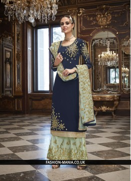 Art Silk Navy Blue Churidar Salwar Kameez