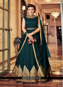 Awesome Resham Green Banglori Silk Floor Length Anarkali Suit