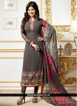 Ayesha Takia Grey Resham Work Churidar Designer Suit