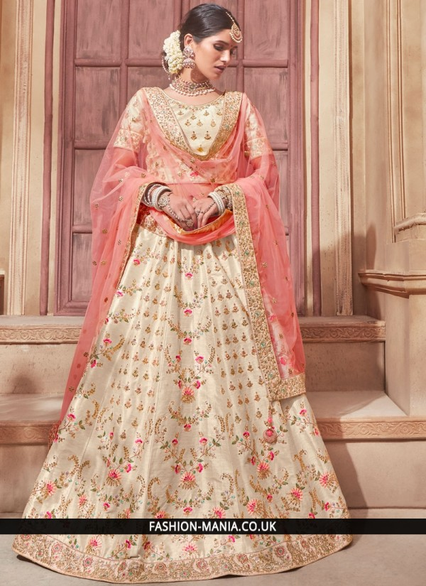 Banglori Silk Cream and Peach Lehenga Choli