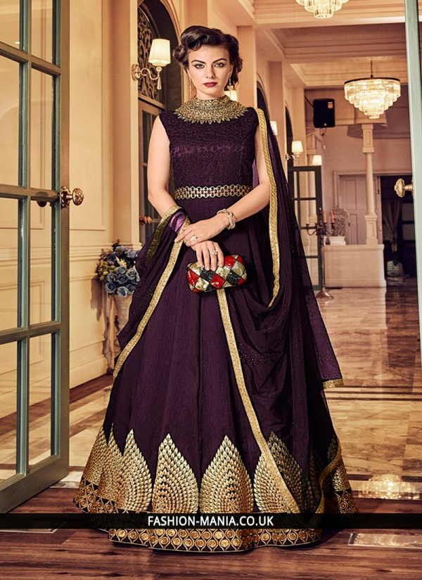 Banglori Silk Purple Floor Length Anarkali Suit