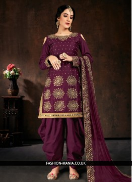 Bedazzling Cotton Purple Designer Patiala Suit
