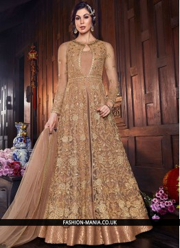 Beige Net Long Length Anarkali Salwar Suit
