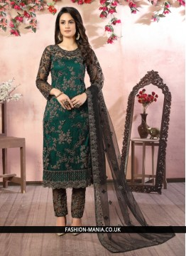 Black and Green Embroidered Pant Style Suit