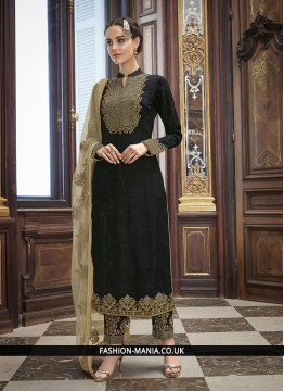 Black Embroidered Art Silk Churidar Salwar Kameez