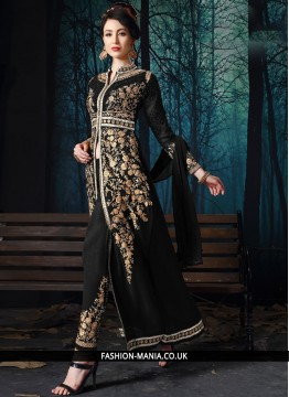 Black Faux Georgette Reception Pant Style Suit