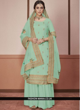 Churidar Salwar Kameez Embroidered Silk in Green