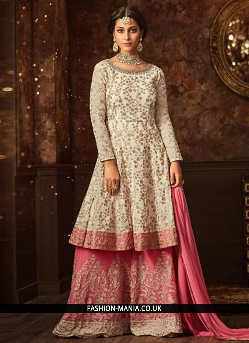 3a3952729694 Classy Pink and White Faux Georgette Designer Pakistani Suit
