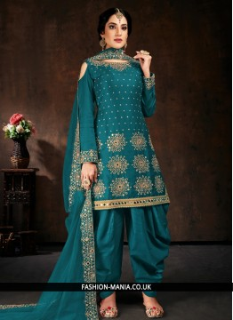 Cotton Teal Mirror Designer Patiala Salwar Kameez