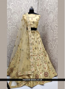 Cream Satin Silk Lace Lehenga Choli