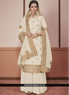 Delectable Cream Embroidered Desinger Anarkali Salwar Suit