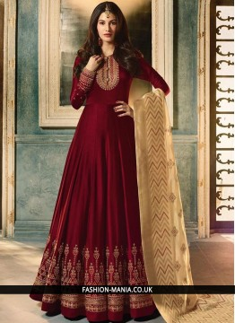 Delightsome Faux Georgette Embroidered Maroon Floor Length Anarkali Suit