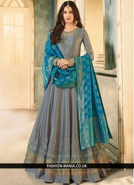 Embroidered Faux Georgette Floor Length Anarkali Suit in Grey