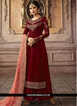 Embroidered Faux Georgette Palazzo Designer Salwar Kameez in Maroon