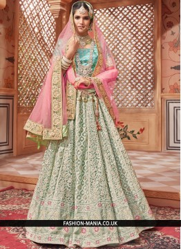 Embroidered Net Lehenga Choli in Sea Green