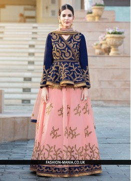 Exciting Navy Blue and Pink Long Choli Lehenga