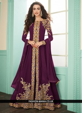 Exuberant Georgette Purple Embroidered Designer Salwar Suit