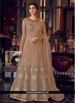 Fabulous Brown Embroidered Net Desinger Anarkali Suit