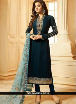 Fabulous Navy Blue Embroidered Georgette Churidar Designer Suit
