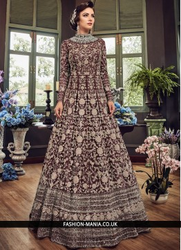 Fancy Fabric Embroidered Wine Floor Length Anarkali Suit