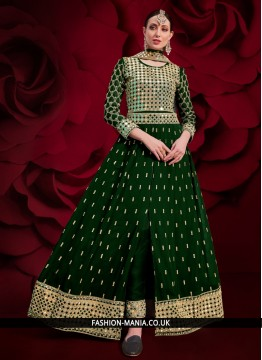 Fantastic Stone Green Faux Georgette Floor Length Anarkali Suit