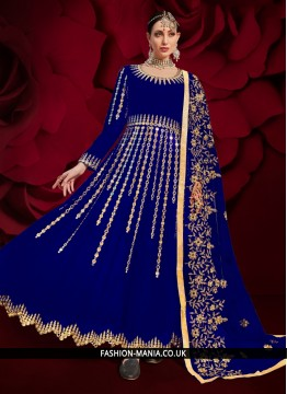 Faux Georgette Resham Floor Length Anarkali Suit in Blue