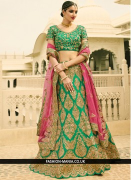Flamboyant Art Dupion Silk Patch Border Work A Line Lehenga Choli