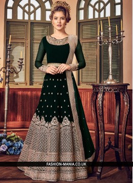Floor Length Anarkali Suit Embroidered Fancy Fabric in Green