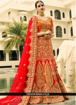 Genius Red Art Dupion Silk A Line Lehenga Choli