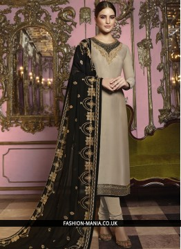 Georgette Satin Embroidered Churidar Suit in Beige