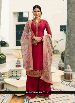 Georgette Satin Hot Pink Resham Designer Pakistani Suit