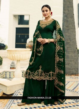 Green Embroidered Georgette Satin Designer Pakistani Suit