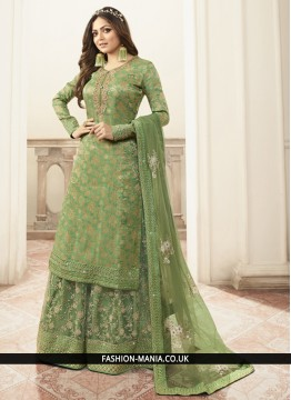 Green Embroidered Sangeet Designer Salwar Kameez