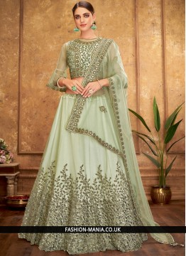 Green Net Trendy A Line Lehenga Choli