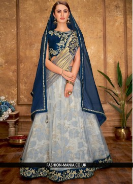 Grey Reception Net A Line Lehenga Choli