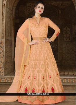 Gripping Peach Floor Length Anarkali Suit