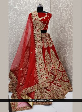 Gripping Red Trendy Designer Lehenga Choli