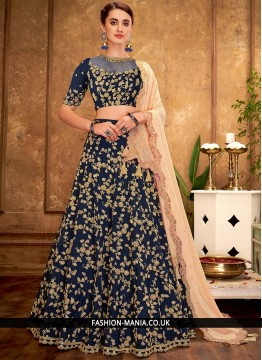 Handwork Tafeta Silk A Line Lehenga Choli in Blue