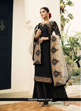 Invaluable Georgette Satin Black Resham Designer Pakistani Suit